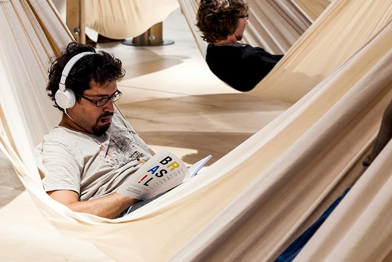 Guest of Honour 2013 Brazil relaxing with music in hammock