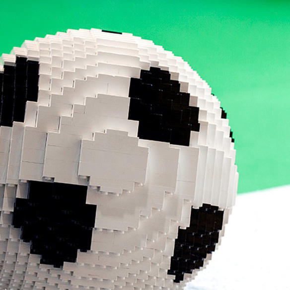 Close-up of a football consisting of building blocks