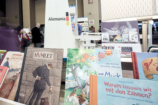 A stand with German books