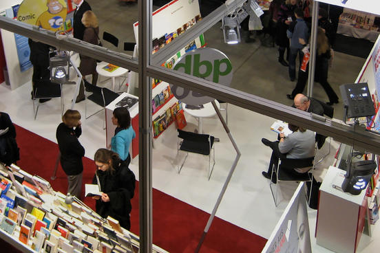 Bird's-eye view of well-visited stands at the Book Fair
