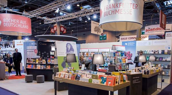 A stand full of books at the Frankfurt Book Fair