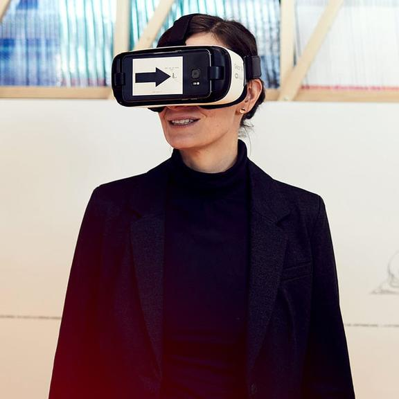 A Woman with virtual reality glasses